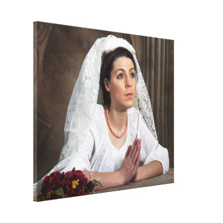 Old World Image - Woman Praying Stretched Canvas Prints