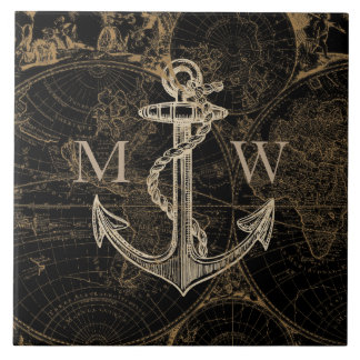 Old World Journey Anchor Nautical Black Ceramic Tile