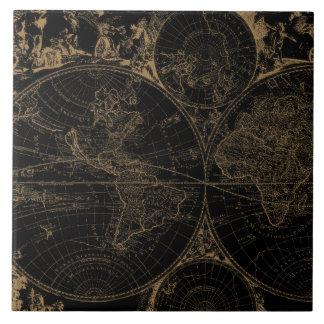 Old World Journey Map Nautical Black Tile