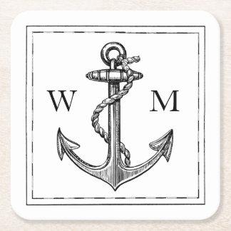 Old World Journey Nautical Anchor Monogram Square Paper Coaster