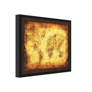 Old World Map Art Print Gallery Wrapped Canvas