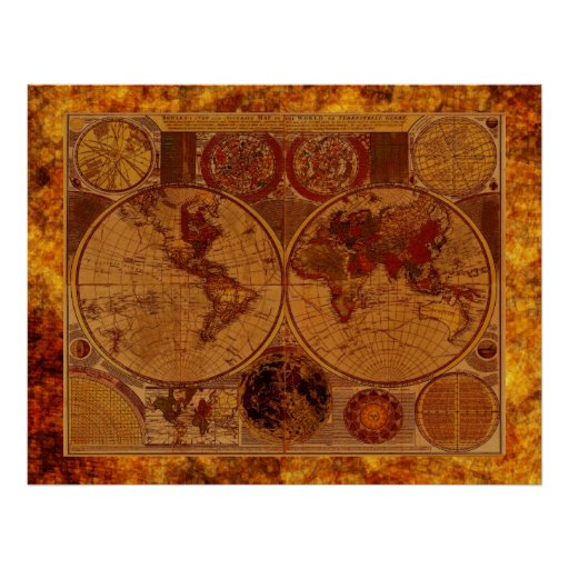 OLD WORLD MAP Artistic Poster Zazzle