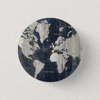 Old World Map Blue 3 Cm Round Badge