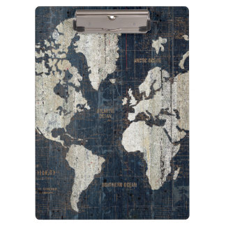 Old World Map Blue Clipboard