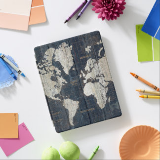 Old World Map Blue iPad Cover