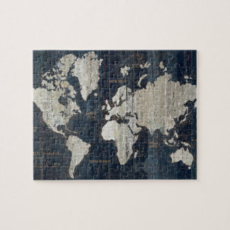 Old World Map Blue Jigsaw Puzzle