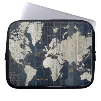 Old World Map Blue Laptop Sleeve