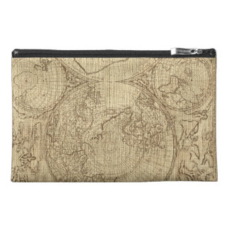 Old World Map Burlap Brown Cosmetic Make up Bag Travel Accessories Bag
