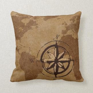 Old World Map Decor Pillow