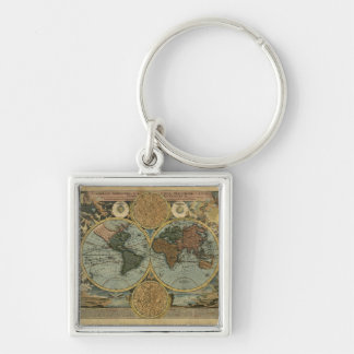 Old World Map Designer Gift Silver-Colored Square Key Ring