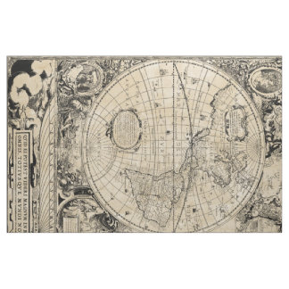 Old World Map Fabric