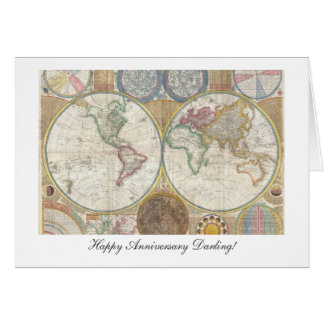 Old World Map from 1794 - Happy Anniversary Card