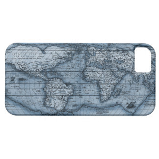 Old World Map In Blue iPhone 5 Cases