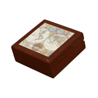 Old World Map In Double Hemispheres, 1794 Small Square Gift Box