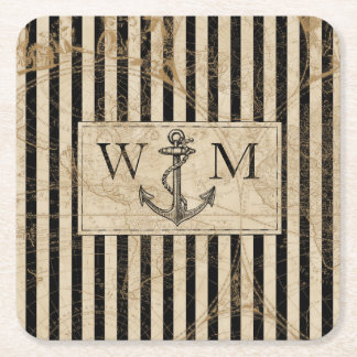 Old World Map Nautical Anchor Monogram Square Paper Coaster