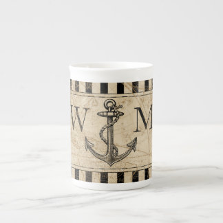 Old World Map Nautical Anchor Monogram Tea Cup