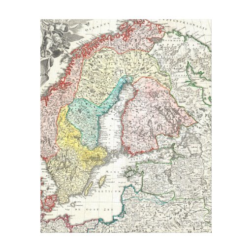 Old World Map of Northern Europe Stretched Canvas Print