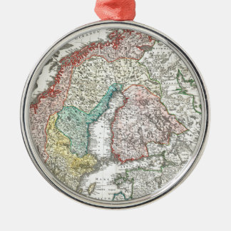 Old World Map of Northern Europe Metal Ornament