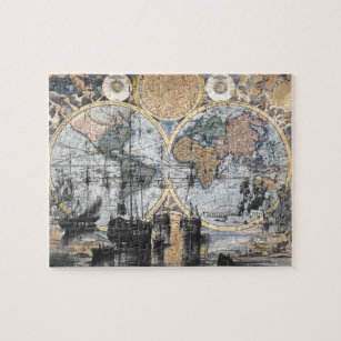 Old world map jigsaw puzzles zazzle old world map out to sea jigsaw puzzle gumiabroncs Gallery