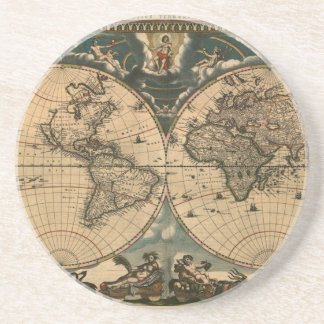 Old World Map Vintage Earth Gift Coaster