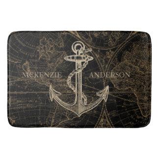 Old World Nautical Anchor Monogram Black Bath Mat