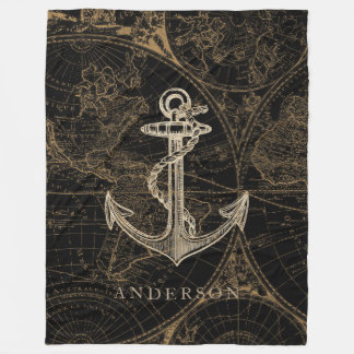 Old World Nautical Anchor Monogram Black Fleece Blanket