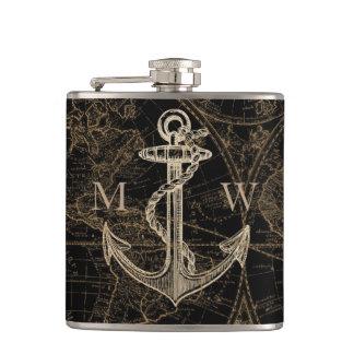 Old World Nautical Anchor Monogram Black Hip Flask