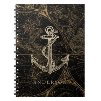 Old World Nautical Anchor Monogram Black Notebook