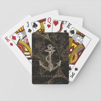 Old World Nautical Anchor Monogram Black Playing Cards