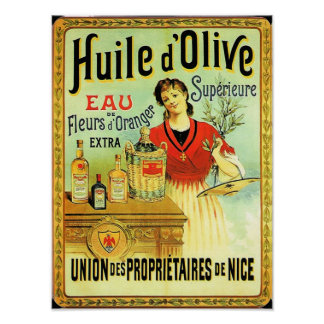 Old World Olive Oil Vintage Cooking Poster