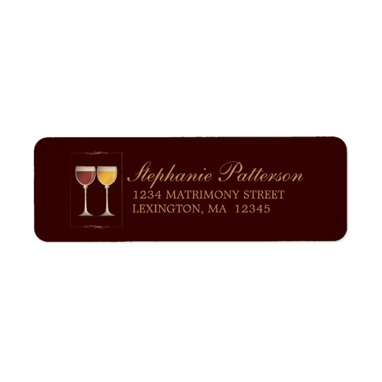 Old World Red & White Wine Glass Address Labels