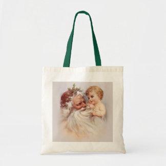 Old World Santa and Cherub Budget Tote Bag