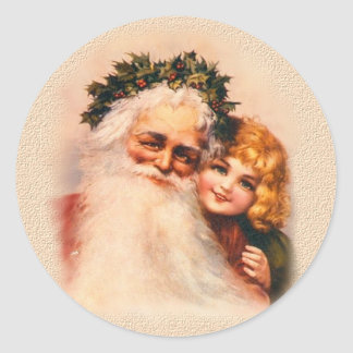 Old World Santa and Child Stickers
