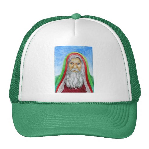 Old World Style Santa in Green and Red Hood Trucker Hats