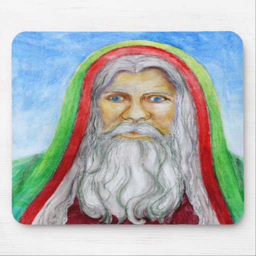 Old World Style Santa in Green and Red Hood Mousepad