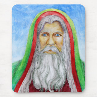Old World Style Santa in Green and Red Hood Mouse Pad