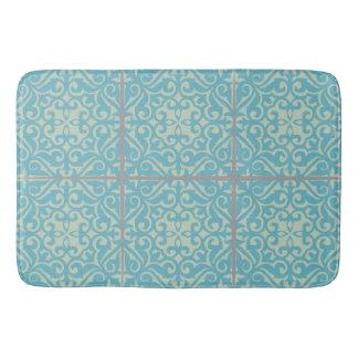 Old World Tile Bathroom Rug in Floral Tile Pattern