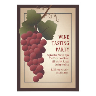 Old World Tuscan Grapevine Wine Tasting Party Card
