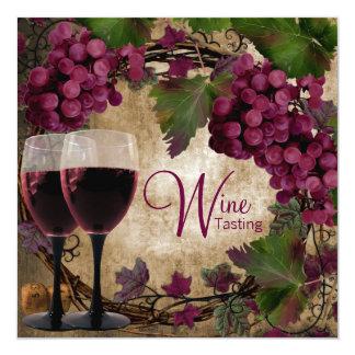 Old World Vintage Red Green Grapes Wine Tasting 13 Cm X 13 Cm Square Invitation Card