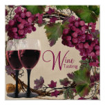 Old World Vintage Red Green Grapes Wine Tasting Custom Announcement
