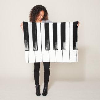 Old Worn Piano Keys Fleece Blanket
