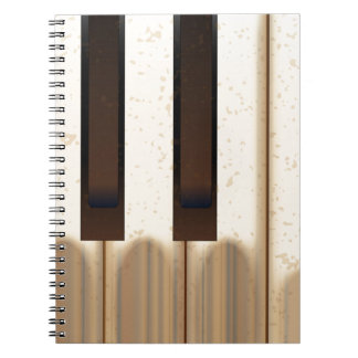 Old Worn Piano Keys Spiral Note Book