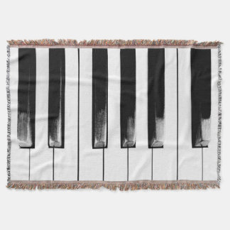 Old Worn Piano Keys Throw Blanket