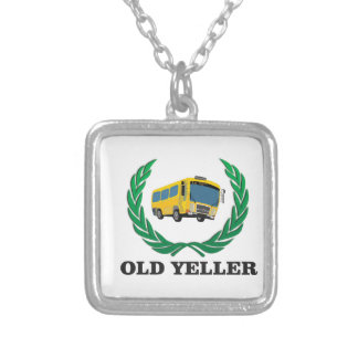old yeller bus fun silver plated necklace
