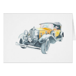 Old yellow vintage car card. card