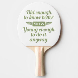 """Old & Young"" custom monogram ping pong paddle"