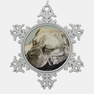 Olde English Bulldogge by Carol Zeock Snowflake Pewter Christmas Ornament