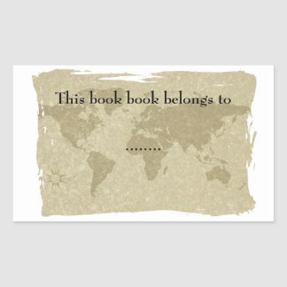 Olde world map book plate rectangular sticker