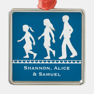Older Brother, Younger Sisters: Silhouettes Silver-Colored Square Decoration