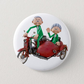 Older Couple on a Moped with Sidecar 6 Cm Round Badge